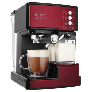 Mr. Coffee® Café Barista in Red with cup of cappuccino