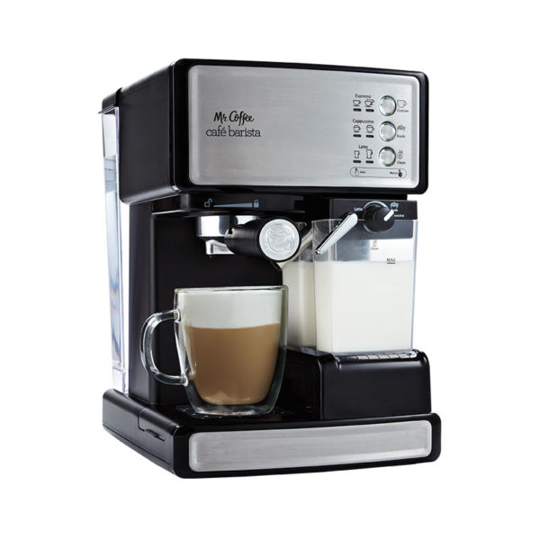 Mr. Coffee® Café Barista in Black with cup of cappuccino