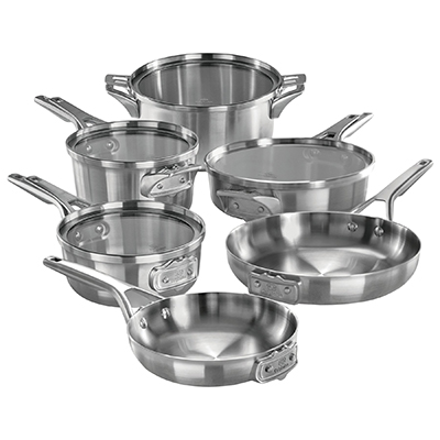 Calphalon premier space saving stainless steel 10 piece cookware set