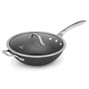Calphalon signature hard anodized nonstick 12 inch flat-bottom wok with cover