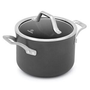 Calphalon signature hard anodized nonstick black 4 quart soup pot with cover