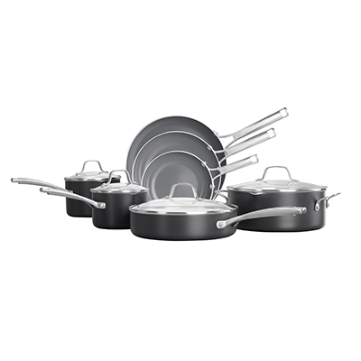 Calphalon classic oil infused ceramic nonstick 11 piece black cookware set